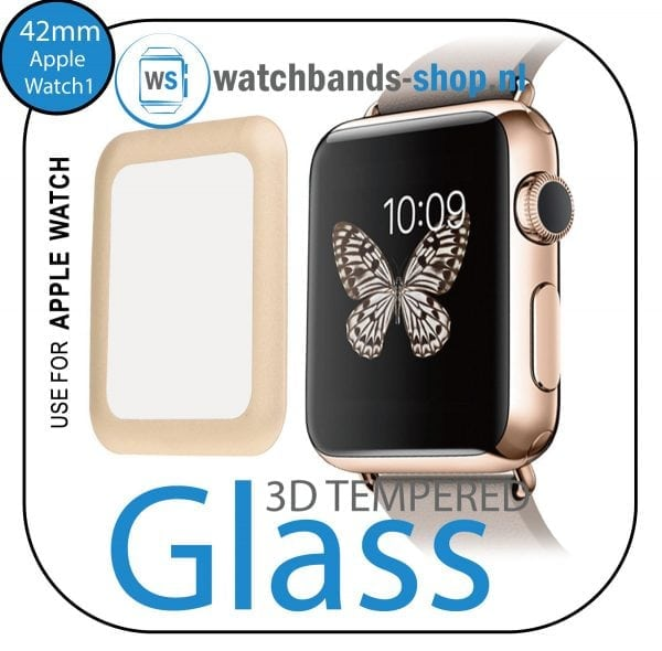 42mm full Cover 3D Tempered Glass Screen Protector For Apple watch iWatch 1 golden edge-001