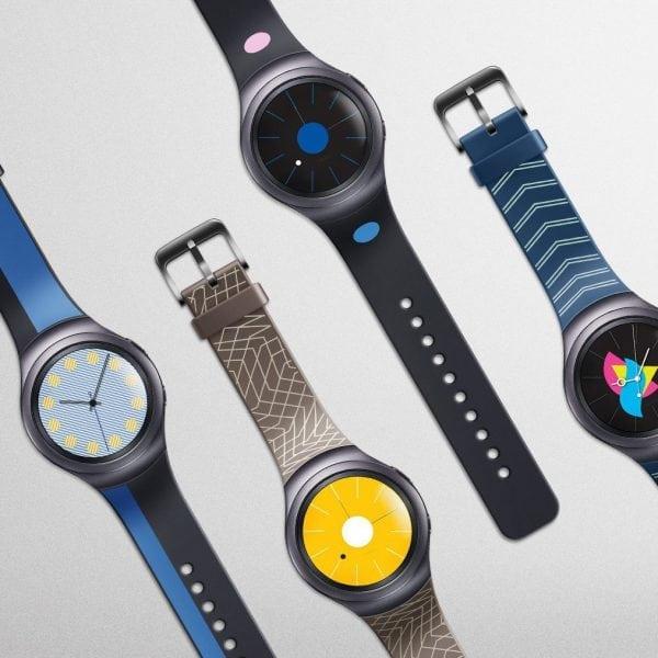 Samsung Gear S2 bandje silicone blauw met patroon_006
