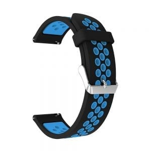 Sportbandje Voor de Samsung Gear S3 Classic - Frontier - Siliconen Armband - Polsband - Strap Band - Sportbandje - zwart blauw-004
