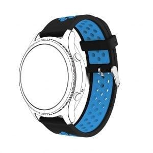 Sportbandje Voor de Samsung Gear S3 Classic - Frontier - Siliconen Armband - Polsband - Strap Band - Sportbandje - zwart blauw-009