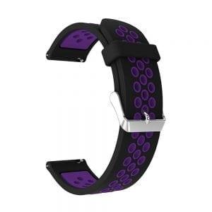 Sportbandje Voor de Samsung Gear S3 Classic - Frontier - Siliconen Armband - Polsband - Strap Band - Sportbandje - zwart paars-001