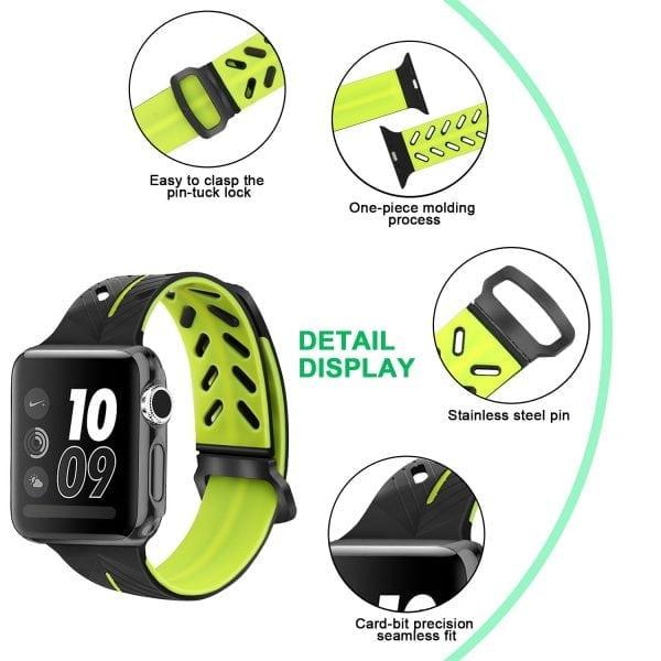 Apple Watch bandje 38mm zwart-geel siliconen_005