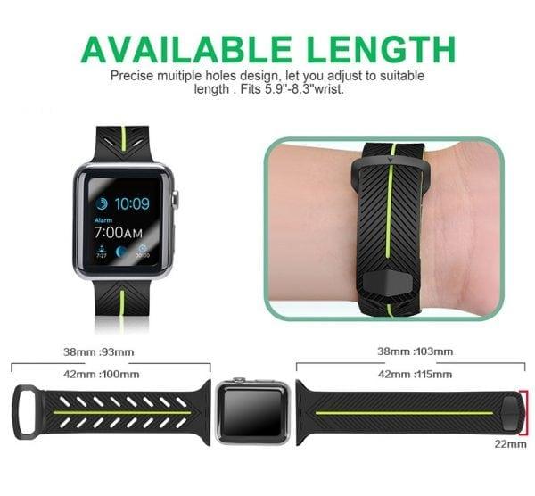 Apple Watch bandje 38mm zwart-geel siliconen_009