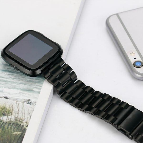 Fitbit Versa bandje RVS zwart kleurig_001