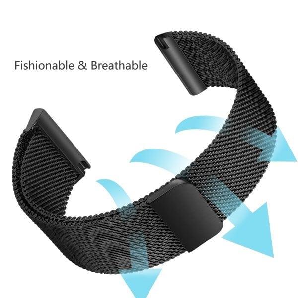 Fitbit Versa bandje milanese loop RVS zwart kleurig_003