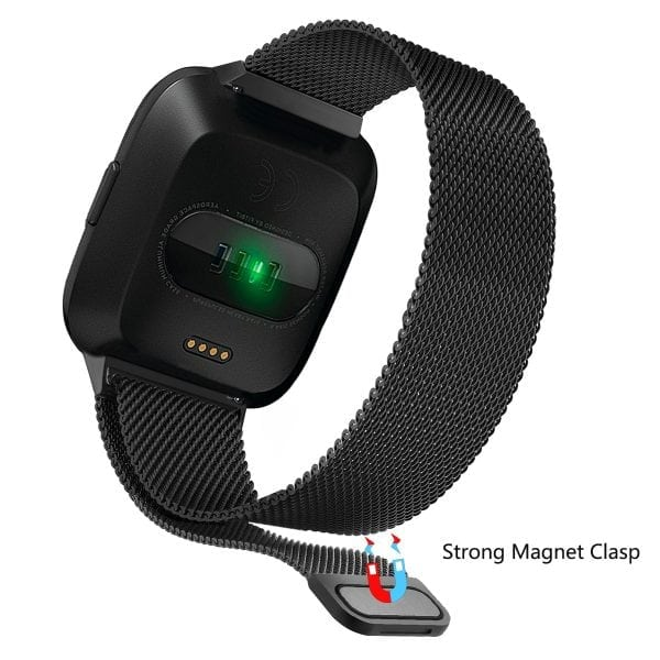 Fitbit Versa bandje milanese loop RVS zwart kleurig_005