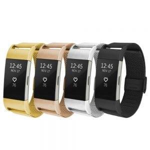 RVS zilver kleurig metalen bandje / armband voor de Fitbit Charge 2