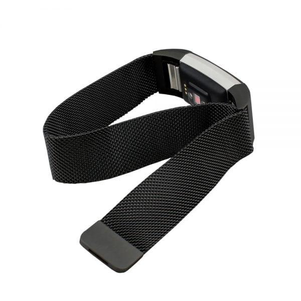 RVS zwart kleurig metalen milanese loop bandje voor de Fitbit Charge 2_001
