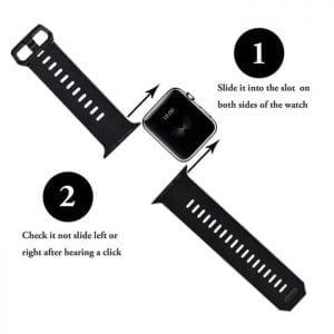 42mm en 44mm Sport bandje zwart geschikt voor Apple watch 1 - 2 - 3 - 4 _002