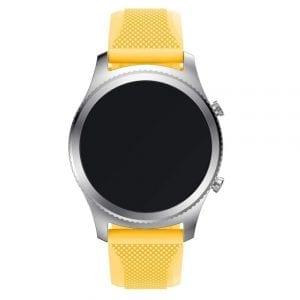 Bandje Voor de Samsung Gear S3 Classic / Frontier - Siliconen Armband / Polsband / Strap Band / Sportbandje - Donker Geel