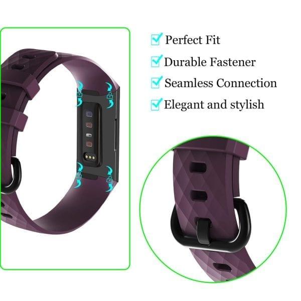 Bandje geschikt voor Fitbit Charge 3 SMALL – paars_004
