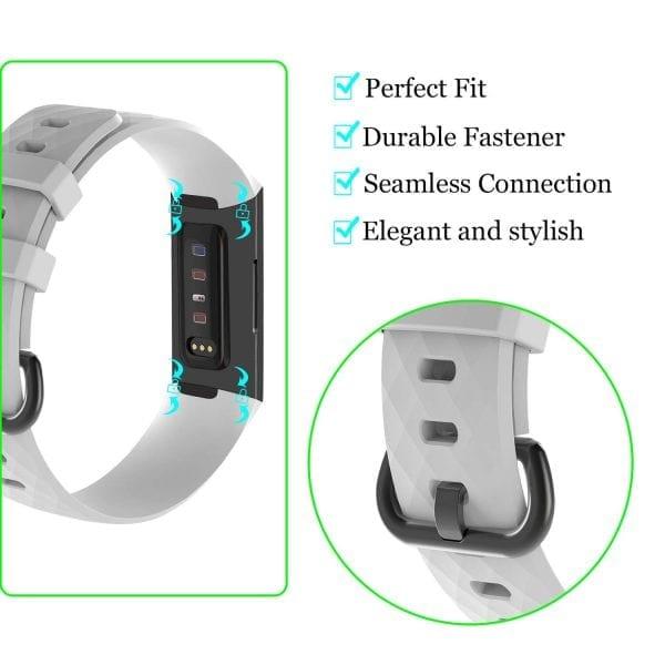 Bandje geschikt voor Fitbit Charge 3 SMALL – wit