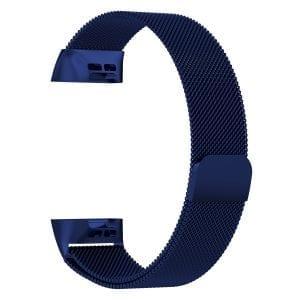 RVS blauw kleurig metalen milanese loop bandje armband voor de Fitbit Charge 3