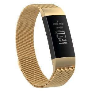RVS goud kleurig metalen milanese loop bandje armband voor de Fitbit Charge 3_007