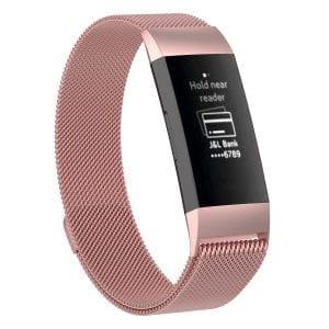 RVS rose goud kleurig metalen milanese loop bandje armband voor de Fitbit Charge 3_003