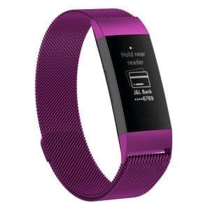 RVS rose pink kleurig metalen milanese loop bandje armband voor de Fitbit Charge 3_007