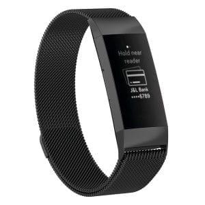 RVS zwart kleurig metalen milanese loop bandje armband voor de Fitbit Charge 3_007