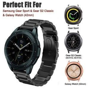 Samsung Gear Sport bandje Galaxy Watch 42mm SM-R810 Galaxy Watch 42mm SM-R810 RVS Zwart Metaal_005