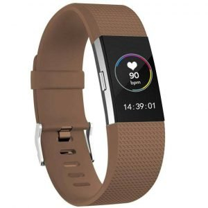 Luxe Siliconen Bandje SMALL voor FitBit Charge 2 – koffie