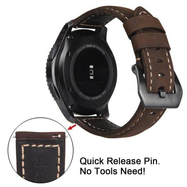 Leren Bandje Voor de Samsung Gear S3 - Galaxy watch 46mm SM-R800 - Leren Armband Donker Bruin met zwarte gesp_1002
