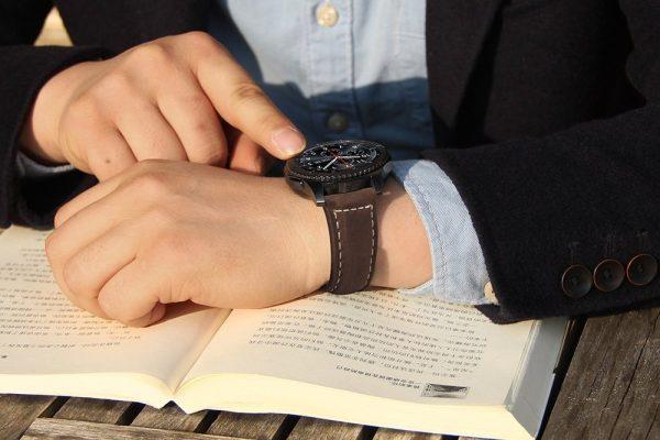 Leren Bandje Voor de Samsung Gear S3 - Galaxy watch 46mm SM-R800 - Leren Armband Donker Bruin met zwarte gesp_1003