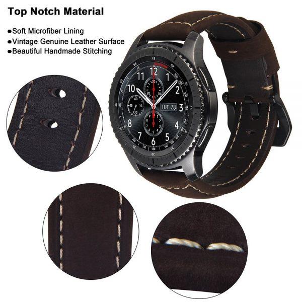 Leren Bandje Voor de Samsung Gear S3 - Galaxy watch 46mm SM-R800 - Leren Armband Donker Bruin met zwarte gesp_1004