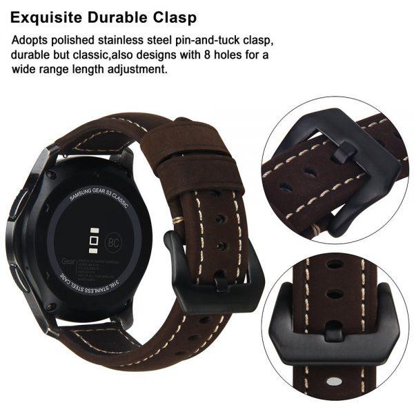 Leren Bandje Voor de Samsung Gear S3 - Galaxy watch 46mm SM-R800 - Leren Armband Donker Bruin met zwarte gesp_1005