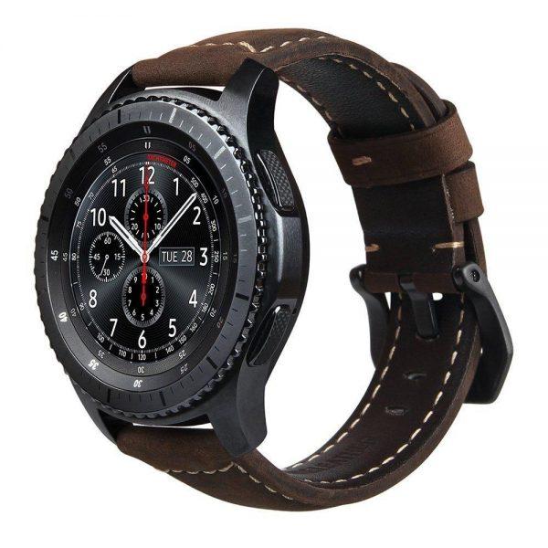 Leren Bandje Voor de Samsung Gear S3 - Galaxy watch 46mm SM-R800 - Leren Armband Donker Bruin met zwarte gesp_1006