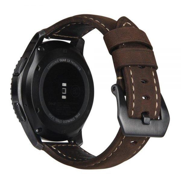 Leren Bandje Voor de Samsung Gear S3 - Galaxy watch 46mm SM-R800 - Leren Armband Donker Bruin met zwarte gesp_1007