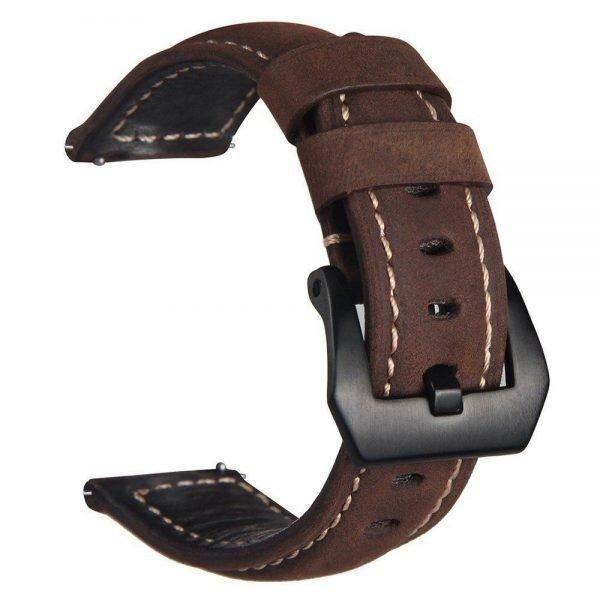 Leren Bandje Voor de Samsung Gear S3 - Galaxy watch 46mm SM-R800 - Leren Armband Donker Bruin met zwarte gesp_1008