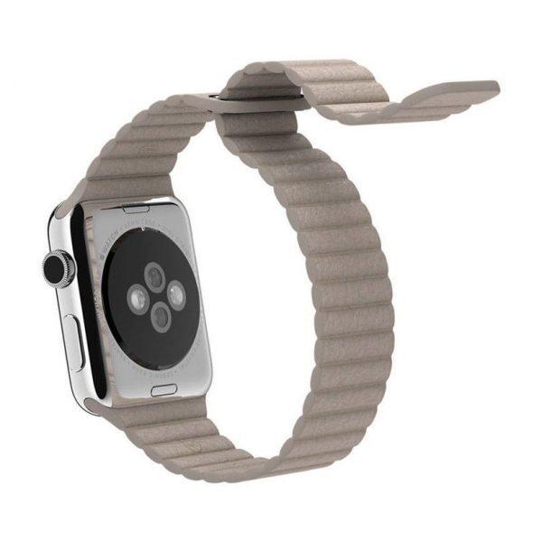PU leather loop bandje voor de Apple watch 38mm - 40mm bandje - Kaki_1001