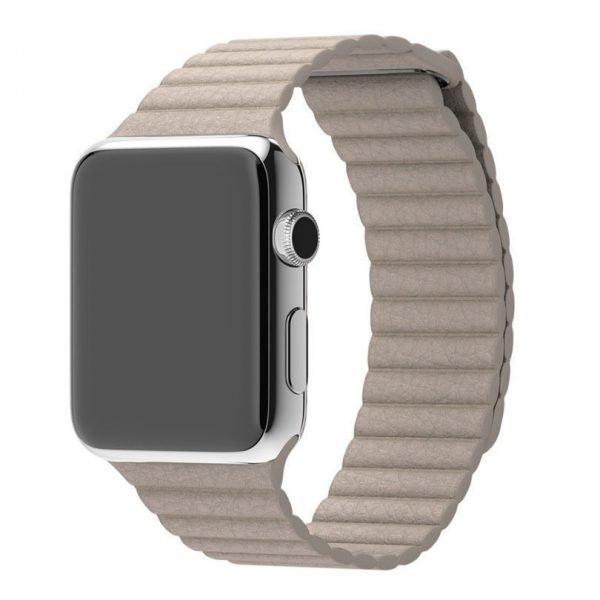 PU leather loop bandje voor de Apple watch 38mm - 40mm bandje - Kaki_1002