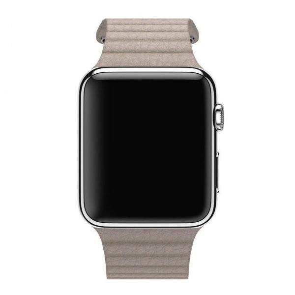 PU leather loop bandje voor de Apple watch 38mm - 40mm bandje - Kaki_1004