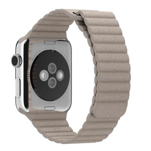PU leather loop bandje voor de Apple watch 38mm - 40mm bandje - Kaki_1006