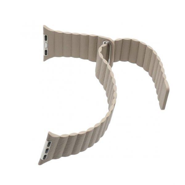 PU leather loop bandje voor de Apple watch 38mm - 40mm bandje - Kaki_1008