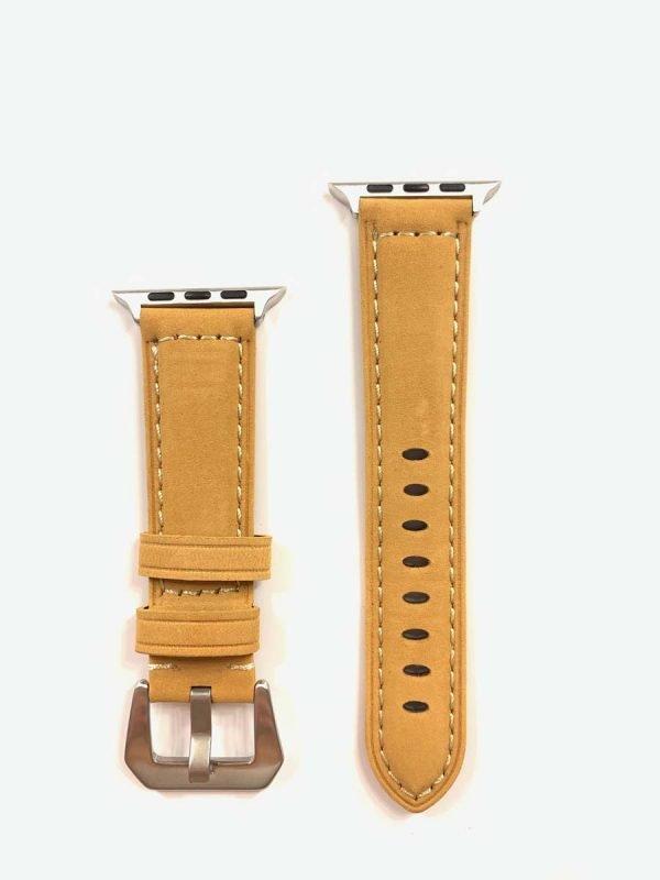 Leren bandje camel met klassieke zilverkleurigegesp voor Apple Watch 42mm - 44mm vervangende horlogeband voor Iwatch Series 1
