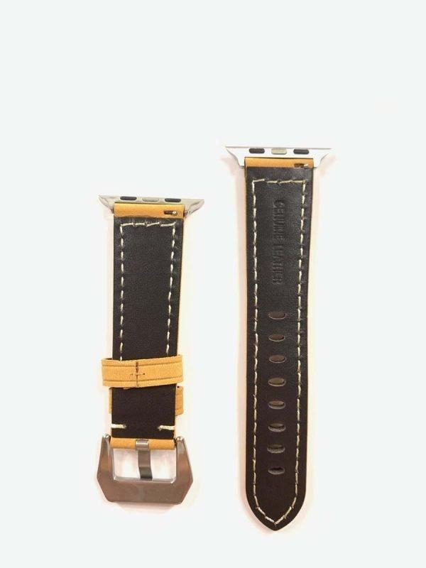Leren bandje camel met klassieke zilverkleurigegesp voor Apple Watch 42mm - 44mm vervangende horlogeband voor Iwatch Series 2