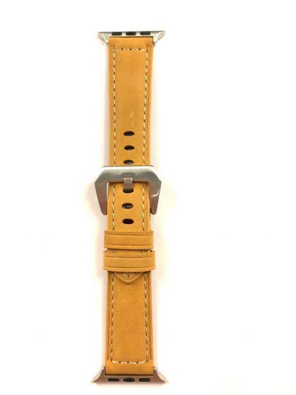 Leren bandje camel met klassieke zilverkleurigegesp voor Apple Watch 42mm - 44mm vervangende horlogeband voor Iwatch Series 3