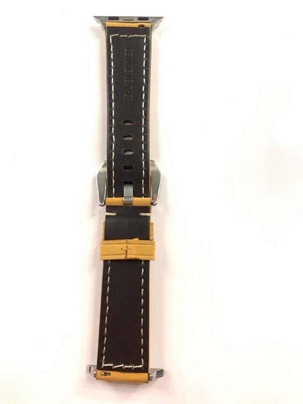Leren bandje camel met klassieke zilverkleurigegesp voor Apple Watch 42mm - 44mm vervangende horlogeband voor Iwatch Series 4
