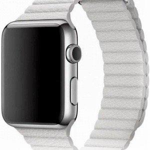 PU leather loop bandje voor de Apple watch 42mm - 44mm bandje - Wit 2