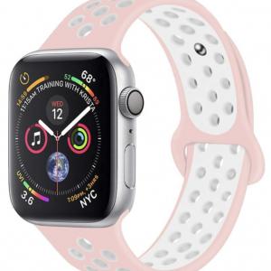 Rubberen sport bandje voor de Apple Watch 42mm - 44mm S/M - Rose Witvoor Series1, Series 2 en de Nike Editie
