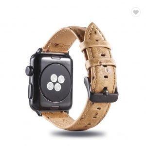 Struisvogel leren bandje met klassieke gesp voor Apple Watch 38mm 40mm 42mm 44mm Iwatch Series 1234-1002