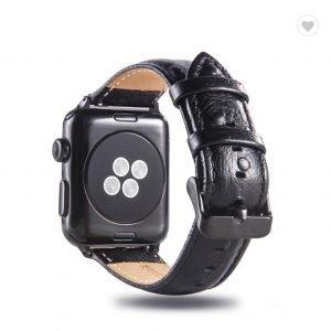 Struisvogel leren bandje met klassieke gesp voor Apple Watch 38mm 40mm 42mm 44mm Iwatch Series 1234-1003
