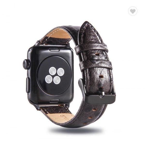 Struisvogel leren bandje met klassieke gesp voor Apple Watch 38mm 40mm 42mm 44mm Iwatch Series 1234-1005