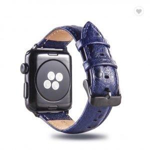 Struisvogel leren bandje met klassieke gesp voor Apple Watch 38mm 40mm 42mm 44mm Iwatch Series 1234-1006