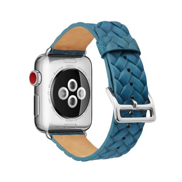Apple-Watch-bandje-blauw-vleer-gevlochten-met-zilverkleurige-gesp-2.jpg