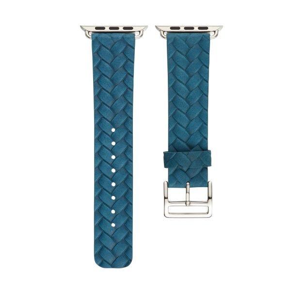 Apple-Watch-bandje-blauw-vleer-gevlochten-met-zilverkleurige-gesp-3.jpg