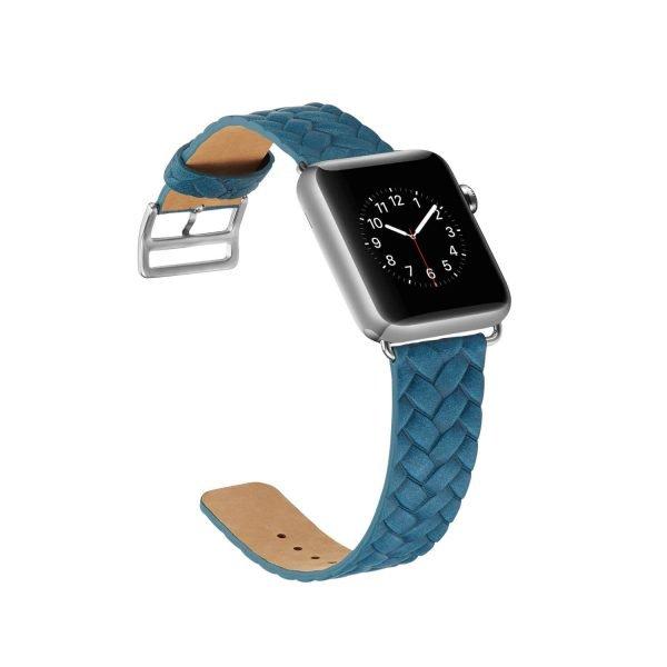 Apple-Watch-bandje-blauw-vleer-gevlochten-met-zilverkleurige-gesp-4.jpg