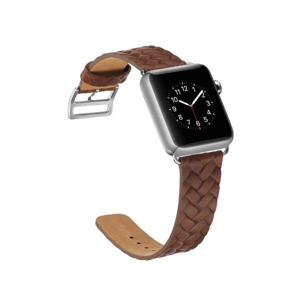 Apple-Watch-bandje-bruin-vleer-gevlochten-met-zilverkleurige-gesp-4.jpg