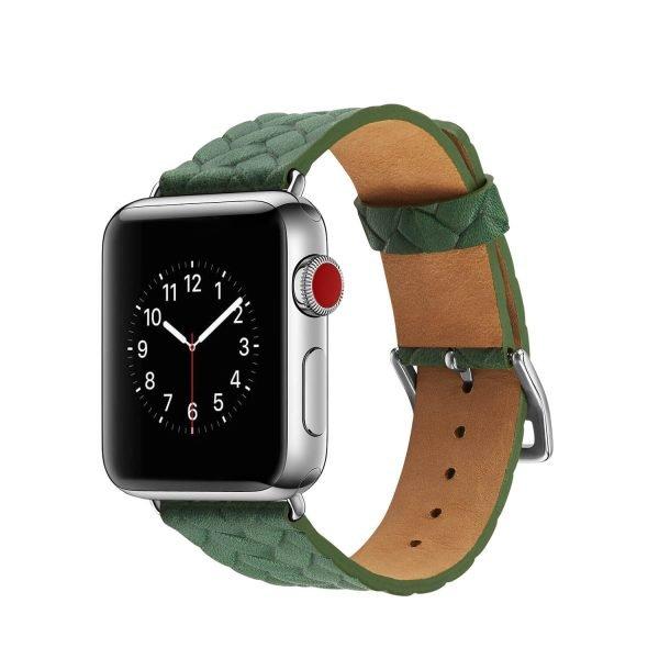 Apple Watch bandje leer groen gevlochten met zilverkleurige gesp1